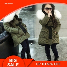 Girls Jackets Kids Faux Fur Collar Coat Korean Children Winter Outwear 3-11 years old Army Green Thick Warm Coat