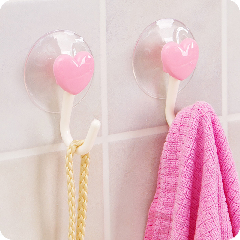 BalleenShiny 2pcs Love Heart Towel Storage Rack Sucker Hook Bathroom Kitchen Wall Organizer Holder Strong Suction Cup Hook