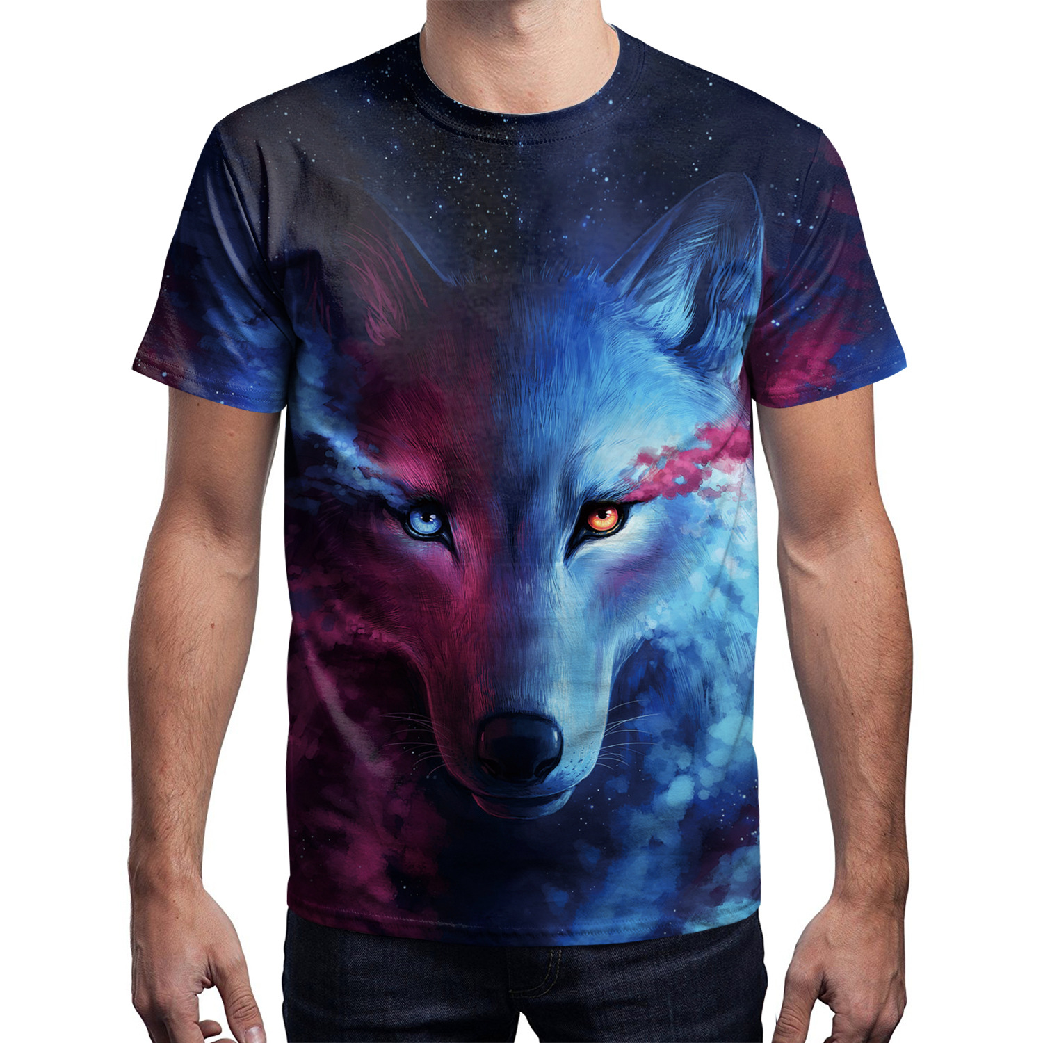 3D Printed T-Shirts Wolf Head Short Sleeve Tops Tees