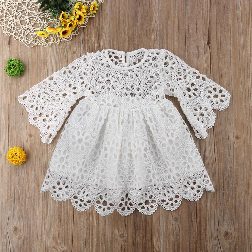 63c04d21c3 ... Family Matching Clothes Women&Kids Girls Lace White Floral Wedding  Party Mommy And Me Clothes Prom Dress ...