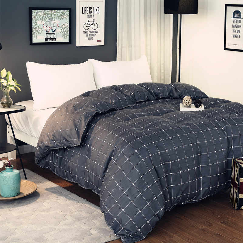 Simple Gray Black Plaid Pattern Polyester Bedding  1 Piece Duvet Cover With Zipper Quilt Or Comforter Or Blanket Case 4 Size38