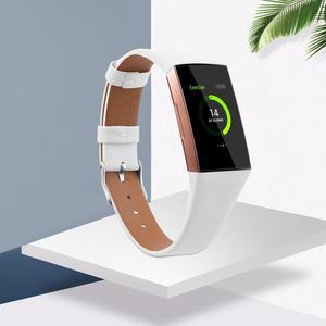 Image 5 - Leather Watch Band Para Fitbit Banda Strap Pulseira de Couro Genuíno Para Mulheres Homens Pequeno & Grande Para Fitbit Carga 3 & Charge 3 SE