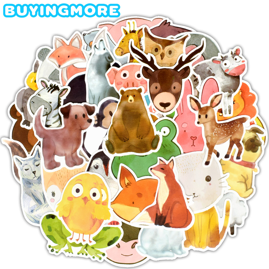 50 PCS Watercolor Animals Sticker Cartoon Cute Educational Toys For Children Decal Stickers To DIY Laptop Suitcase Fridge Guitar