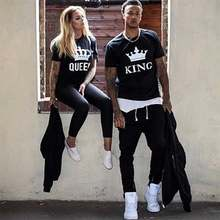 couple t shirt for husband and wife lovers king queen clothes funny tops tee femme casual men women dress 2019 ulzzang harajuku(China)