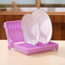 Creative Foldable Dish Plate Drying Rack Organizer Drainer Plastic Storage Holder Kitchen Accessories High Quality