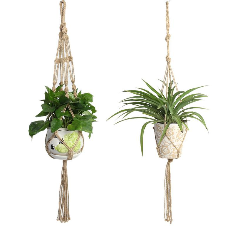 Simple Pot Holder Macrame Plant Holder Hanging Pots Planter Basket Jute Rope Braided Craft Plant Basket Macrame Plant Hang