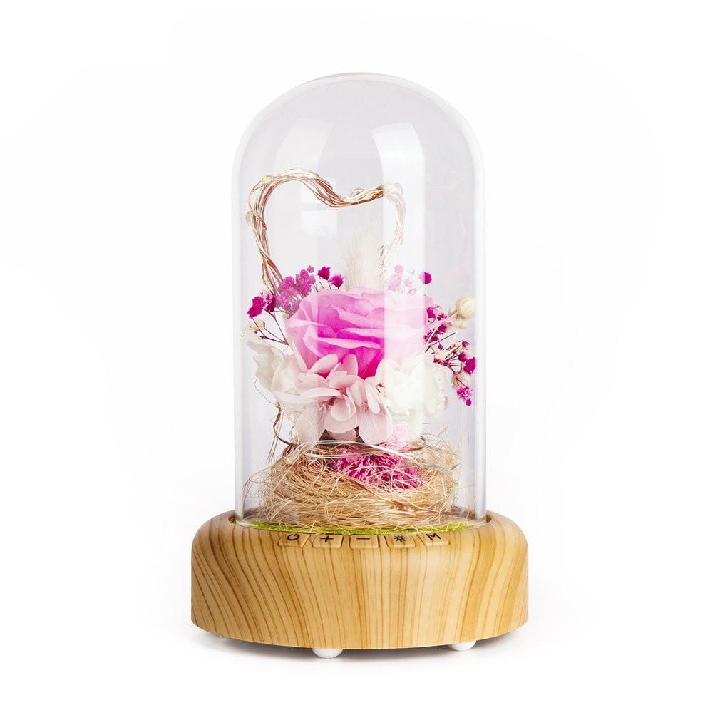 Rose Streamer Bottle Led Night Light Rechargeable Wireless Bluetooth Speaker With Flower In Glass Decoration Table LampRose Streamer Bottle Led Night Light Rechargeable Wireless Bluetooth Speaker With Flower In Glass Decoration Table Lamp