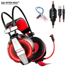 KOTION EACH GS700 3.5mm Gaming Game Headphones For Computer with Mic Stereo Bass LED Light wired Headset For Phone PS4 PC Laptop