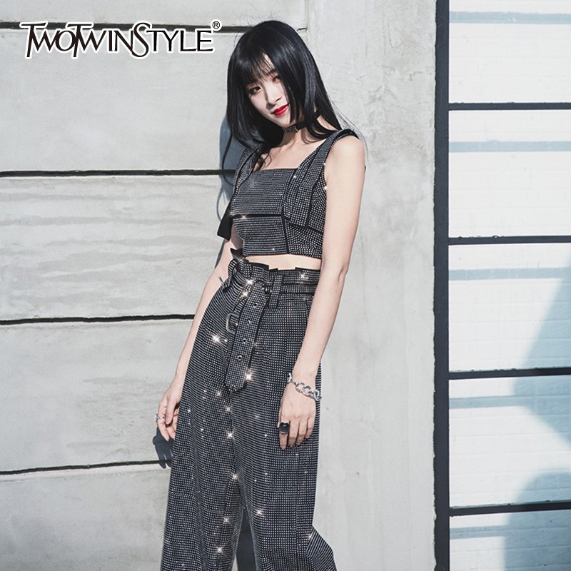 TWOTWINSTYLE Diamond Patchwork Two Piece Set Women Off Shoulder Sleeveless Tops High Waist Big Size Wide Leg Pants Female Suit
