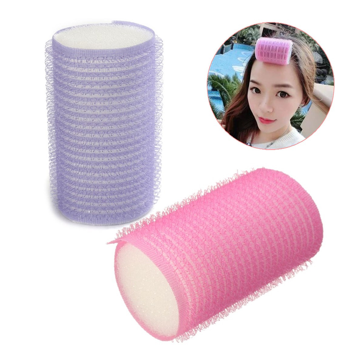 10Pcs DIY Hair Curlers Self Grip For Long/Short Hair Pink Purple Soft Foam Curlers Hair Rollers Curling For Women Sleeping