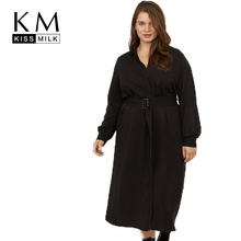 Kissmilk European And American Style Simple Waist Belt With Large Size Solid Color Long-Sleeved Dress