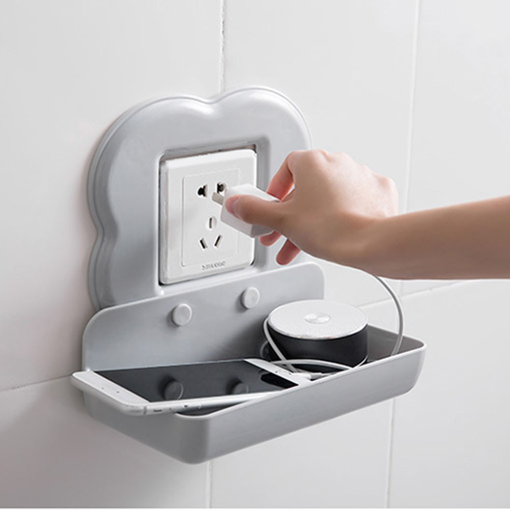 Sweet-Tempered Bathroom Shelves Plastic Mobile Phone Holder Wall Mount Smart Phone Tablet Hanging Stand Charge Holder Bracket Shelf Nail-free Bathroom Fixtures Bathroom Hardware