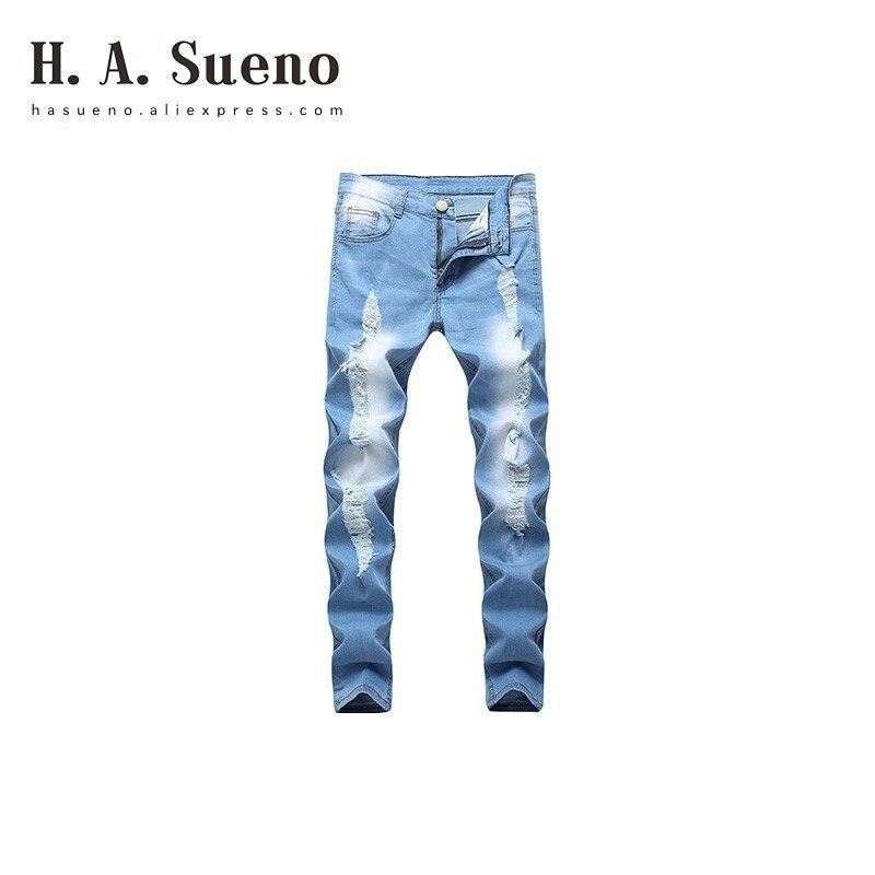 6 Chaude Lumière Denim Bleu Une Jeans Blue Sueno Hommes Long Style H Déchiré 2018 Mens High Biker Hommes Pantalon Street Pour twAHnI
