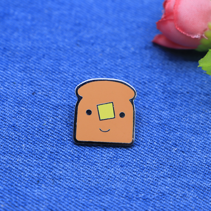Cartoon Funny Brooches Toast Bread Enamel Pin For Girls Boys Lapel Pin Hat/bag Pins Denim Jacket Shirt Women Brooch Badge Sc4231 Badges Apparel Sewing & Fabric