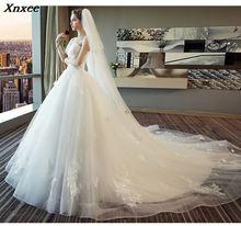 Xnxee Fashion Vintage White Long Train  Dresses 2018 Vestidos de Noivas Plus Size Bling Bridal Gowns