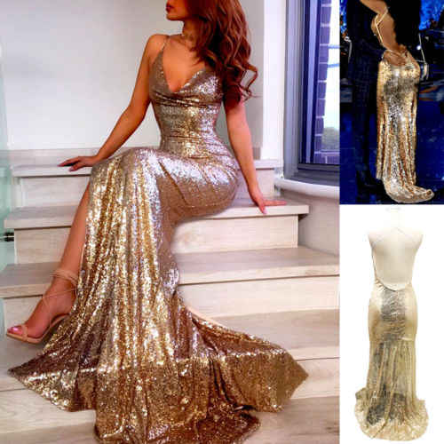 2019 Sexy Gold Maxi Dress Women Sequin Long Maxi Sleeveless Dress Evening Party Club Deep V Dress Gown Summer Lady Dress