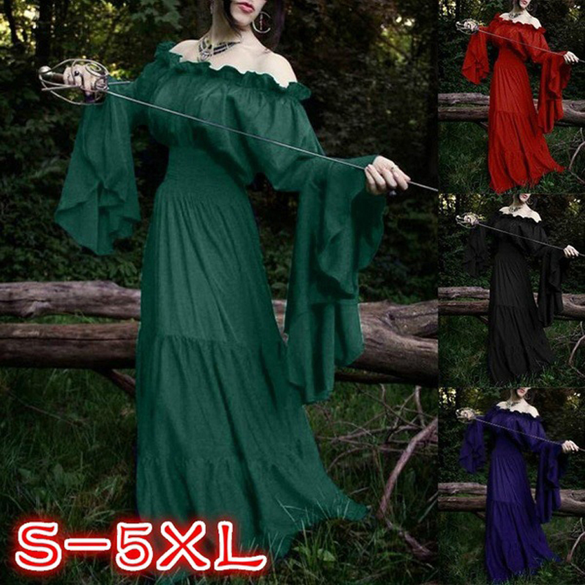 Middle Age European Style Victorian Gothic Halloween Woman Cosplay Costumes Princess Renaissance Palace Medieval Party Wear