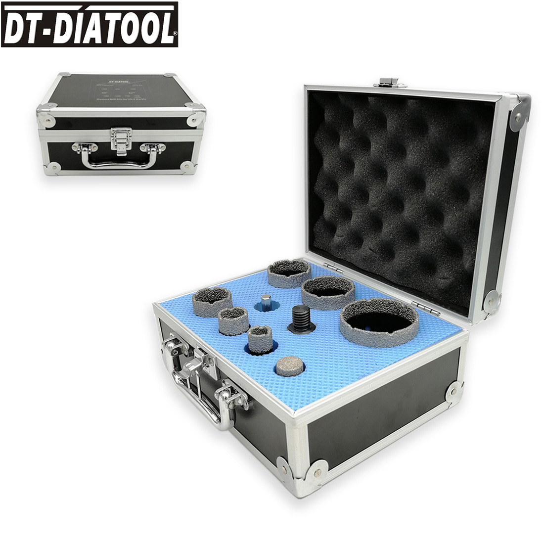 DT-DIATOOL 9pcs/kit Vacuum Brazed Diamond Drill Hole Saw Sets 5/8-11 Connection Drilling Core Bits Plus 20mm Finger Bits Adapter