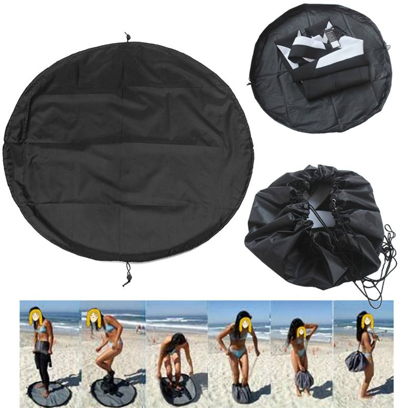 Universal Surfing Wetsuit Change Mat/ Waterproof Nylon Carry Bag Black 90cm Storage Changing Mat Wetsuit Handle Straps Surf Bag
