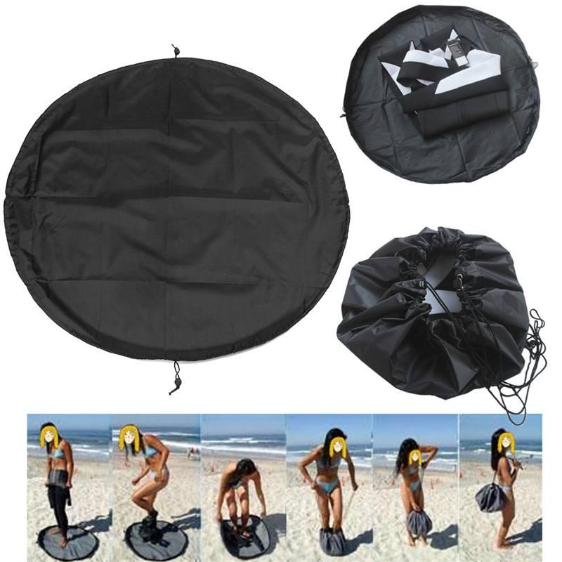 Universal Surfing Wetsuit Change Mat/ Waterproof Nylon Carry Bag Black 90cm Storage Changing Mat Wetsuit Handle Straps Surf Bag