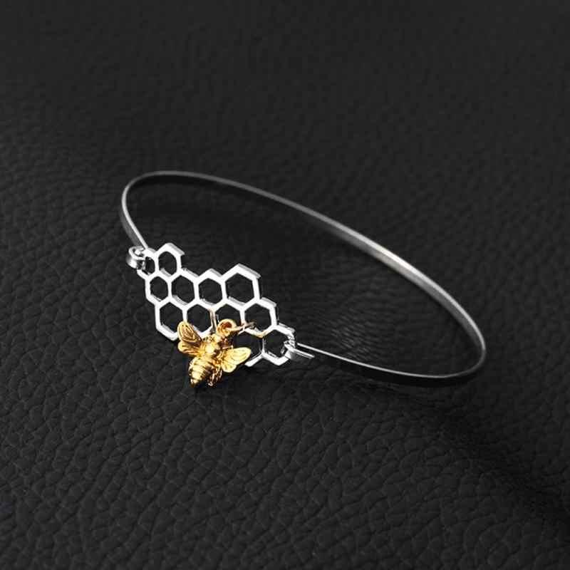 Delle Donne di modo A Nido D'ape Del Braccialetto Bee Pendente di Fascino Del Braccialetto Carino Alveare Honey Bee Catena a maglia Dei Monili di 2018