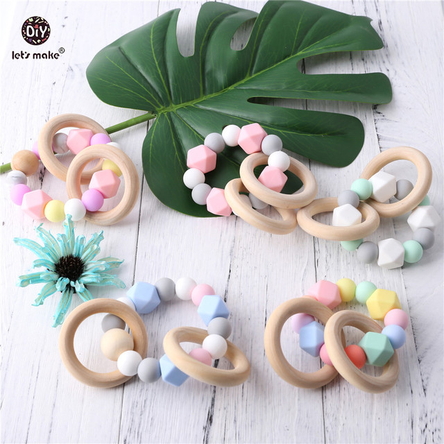 Let's Make Pink Bracelet Teething Wood Ring Baby Rattle Toys Food Grade Silicone Teether DIY Beads Nursing Bracelet Baby Teether