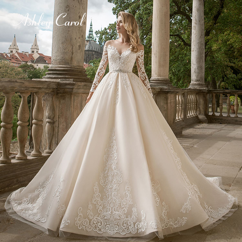 Ashley Carol Appliques A Line Wedding Dress 2019 Sweetheart Long Sleeve Lace Up Chapel Train Luxury