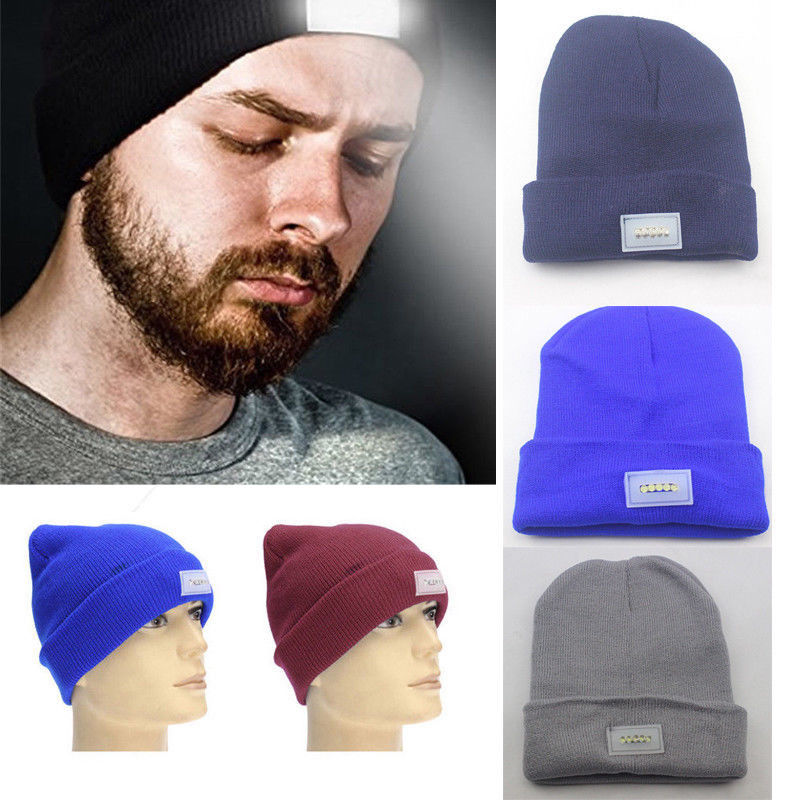 Fashion 5 LED Flashlight Hands Free Knitted Beanie Cap Camping Running Hat Headlamps Bright LED Cap