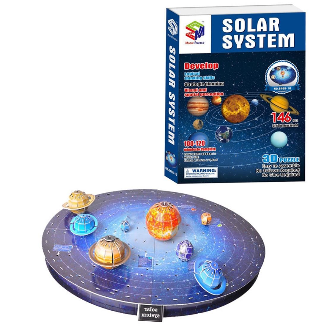 US $17 86 42% OFF 146Pcs Age 6+ Kids 3D Sun Solar System Puzzle Set Planet  Model Building Board Game 3D Paper DIY Jigsaw Toy Children Education-in