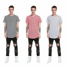 New fashion mens luxury casual slim striped short-sleeved long T-shirt