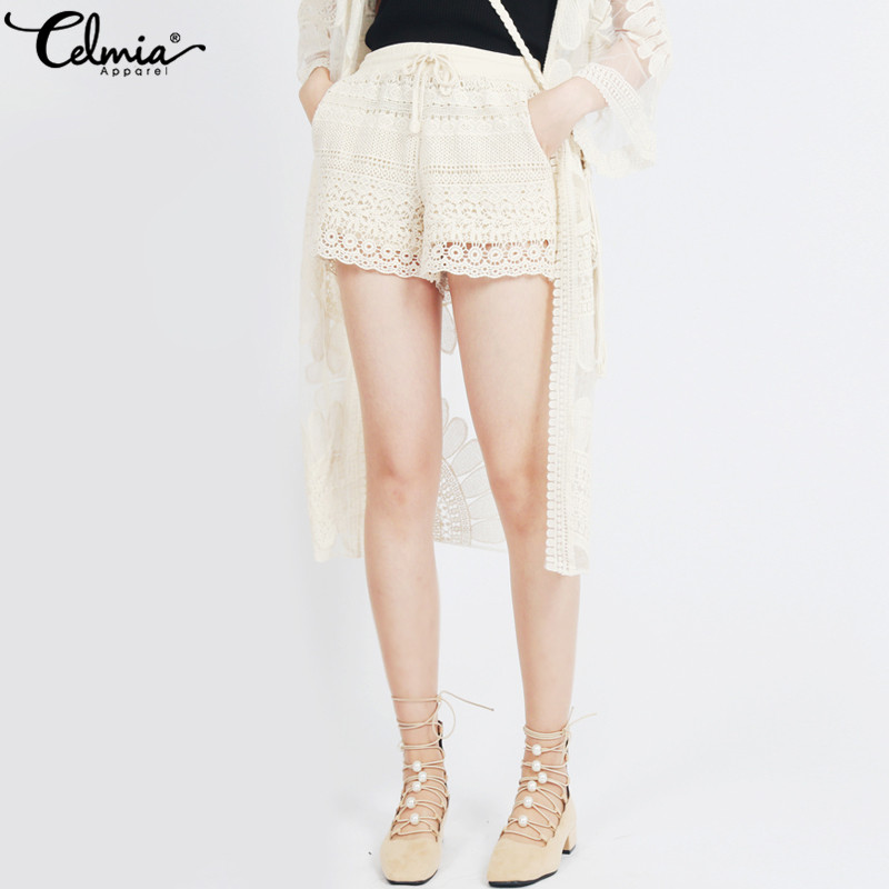 Celmia Plus Size Women White Lace Shorts 2019 Summer Sexy Shorts Female Drawstring High Waist Bottoms Casual Loose Shorts Femme