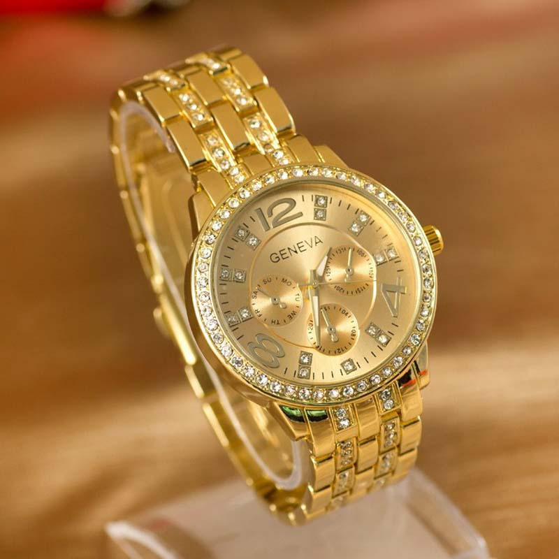 Luxury Geneva Brand Women Gold Stainless Steel Quartz Watch Military Crystal Casual Wrist Watches Rhinestone Relogio Feminino