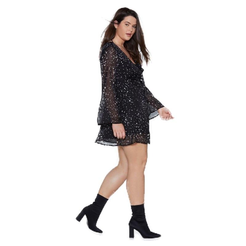 Kissmilk Plus Size Low Heart Collar Butterfly Button Horn Sleeve Long Sleeve Print Dress Long in Dresses from Women 39 s Clothing
