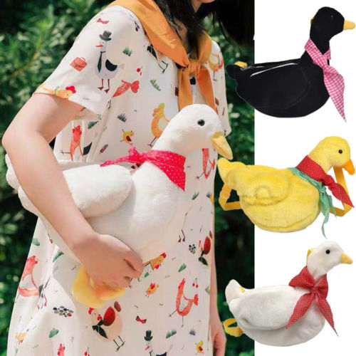2018 Adult Kid Girls Duck Plush Purse Cartoon Animals Shape Crossbody Bag Shoulder Messenger Bag New