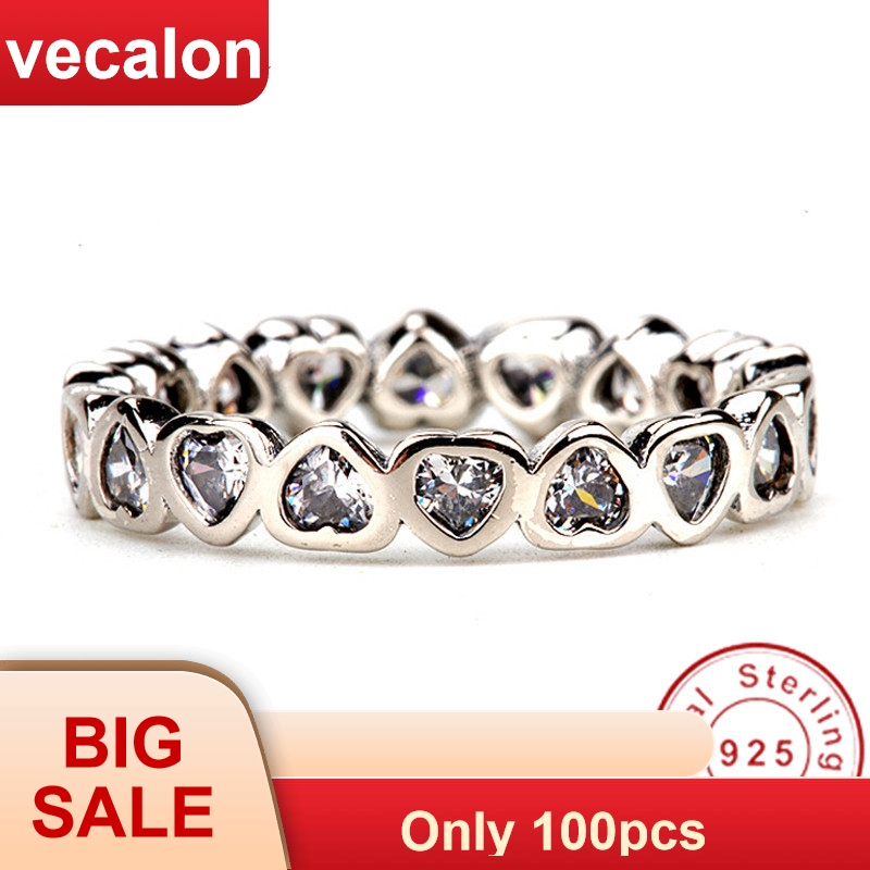 Vecalon Heart Shape Jewelry 925 Sterling Silver ring 5A Zircon Cz Diamont Engagement wedding Band rings for women Bridal Gift