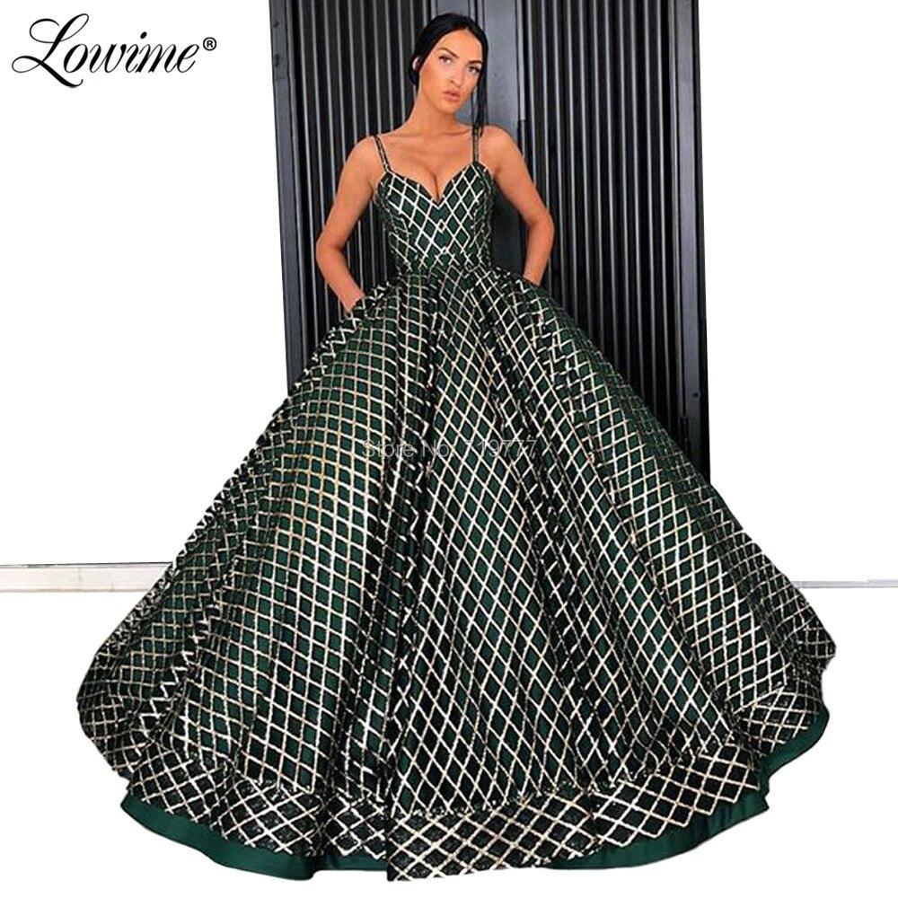 Shiny Fabric Green A Line   Prom     Dresses   Spaghetti Straps Evening Gown Dubai Arabic Couture 2019 Long Party   Dress   Robe De Soiree