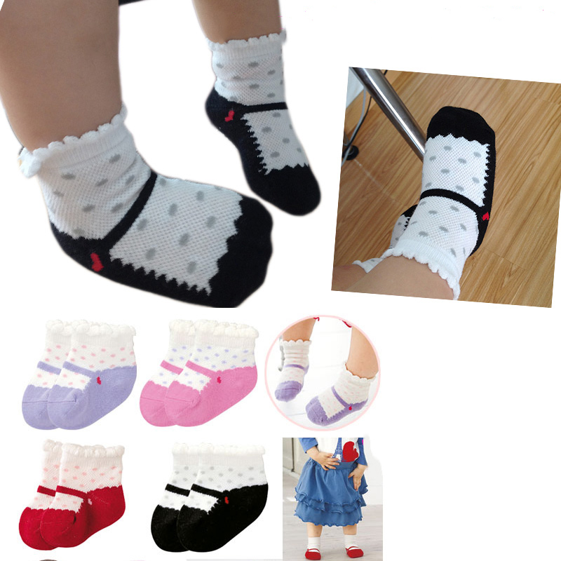 6 Pairs Baby Cotton Socks Soft Breathable Ankle Floor Socks Non-slip 0-3 Years
