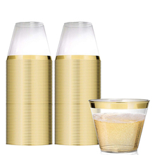 60PCS Safety And Environmental Protection Wedding Cups All-Purpose Golden Rimmed Recyclable Plastic