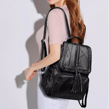 2019 Pu Black Fashion Backpacks Women Faux Leather Backpack Rucksack Shoulder Bag Tassle Satchel School Bags