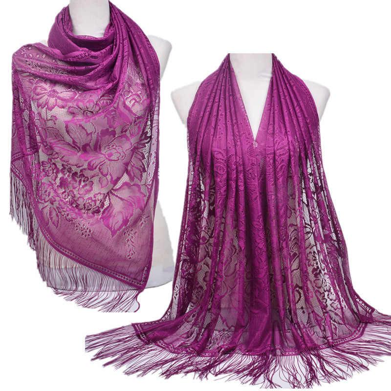女性イスラム教徒イスラム無地タッセルレース中空ロングヒジャーブスカーフショールラップ衣類付属品ストールポリエステルスカーフ