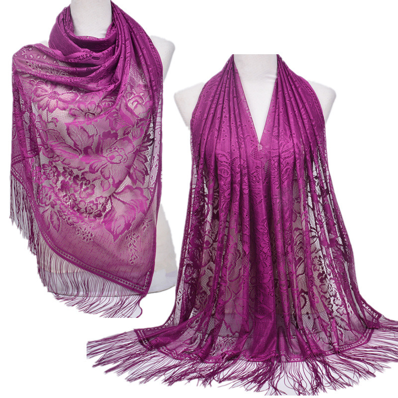 Women Muslim Islamic Solid Color Tassel Lace Hollow Long Hijab Scarf Shawl Wraps Stole Clothing Accessories Polyester Scarf