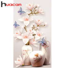 Huacan Diamond Embroidery Flower Pictures Of Rhinestones Painting Full Square/Round Mosaic Floral Beading