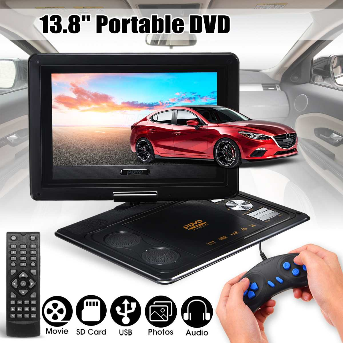 13.8inch Portable DVD Player Car TV CD Digital Multimedia Player Rotate USB SD Support Game Function With Gamepad Car Charger13.8inch Portable DVD Player Car TV CD Digital Multimedia Player Rotate USB SD Support Game Function With Gamepad Car Charger