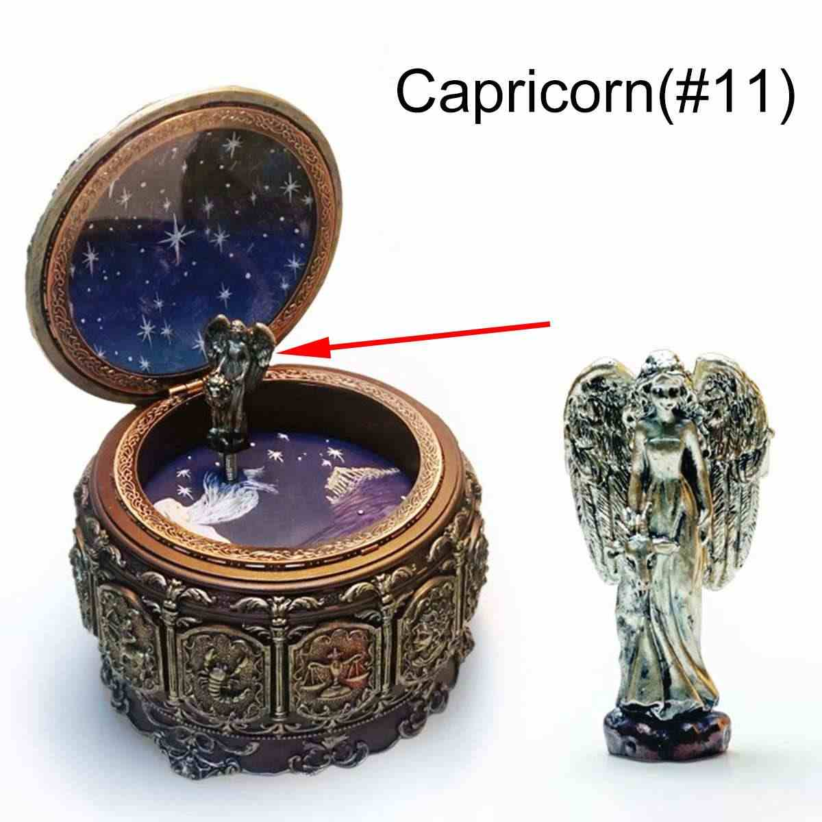 12 Constellations Vintage Zodiac Luminous Music Box with LED Lights Easter Birthday Valentine's Gift Wedding Home Decoration