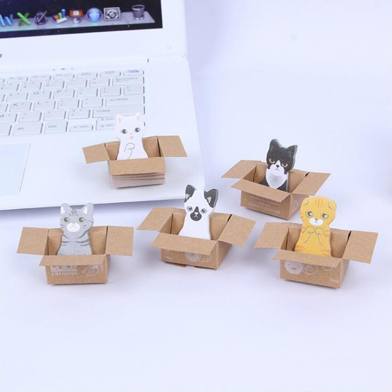 Carton Cat Pattern Memo Pads Sticky Notes Self- Adhesive Decorative Stickers Office Stationery School Supplies 1PCS