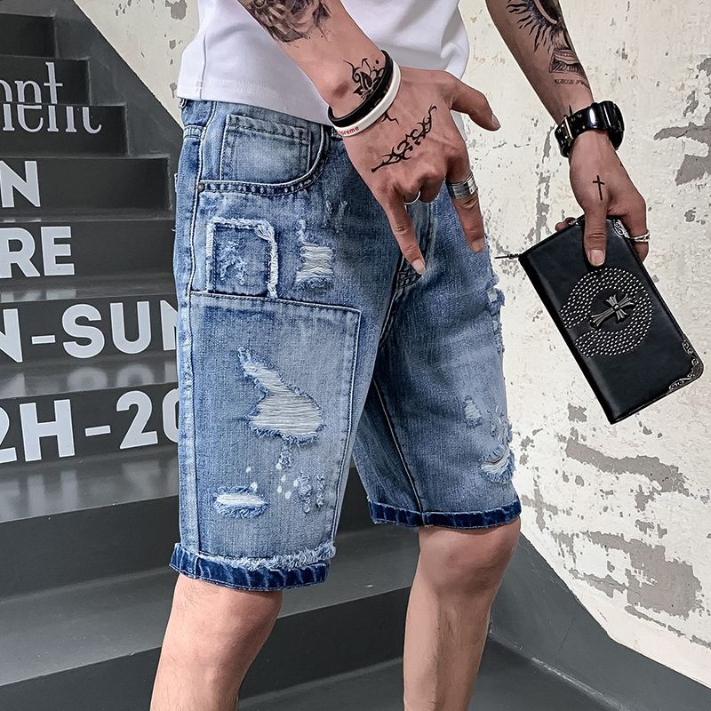 Fivepence Pants Man Riding Breeches Self cultivation men Holes Pants jeans fashion jogger clothes in Jeans from Men 39 s Clothing