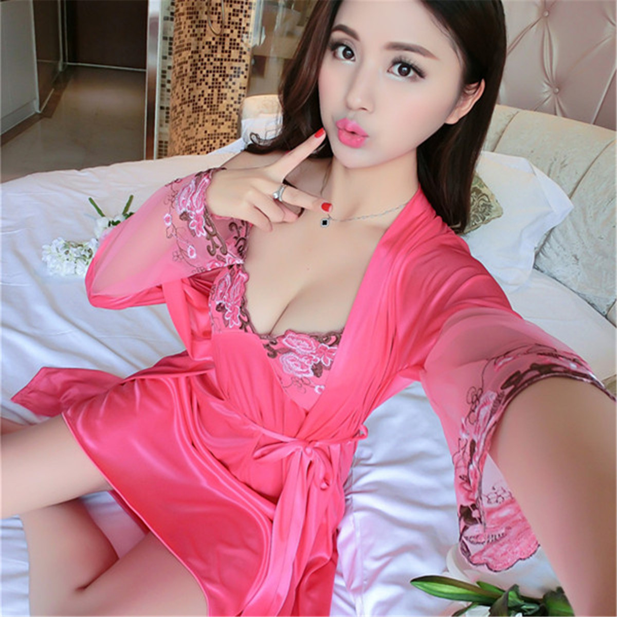 Autumn Winter Two Pieces Sets Elegant Womens Silk Satin   Nightgowns  &  Sleepshirts   Solid Sleepwear Mujer Robe Lady Sexy Nightdress