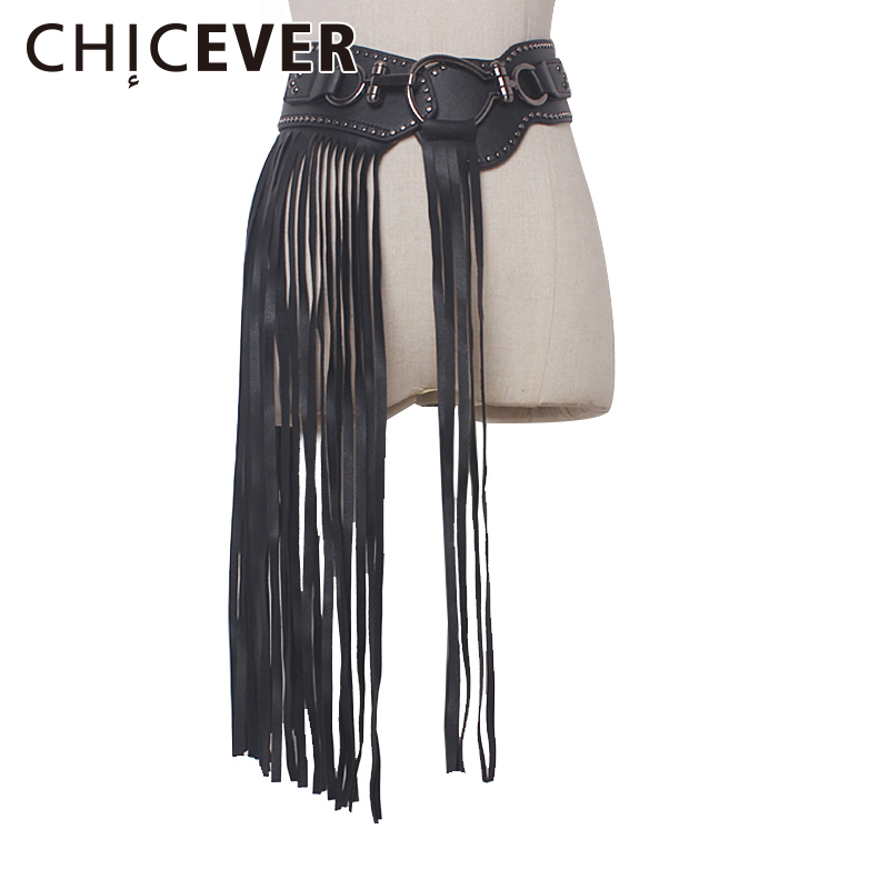 CHICEVER 2017 Summer PU Leather Female   Belts   Made of genuine Leather   Belt   For Women Black Long Tassel Casual