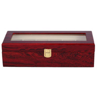 6 Wood Watch Display Case Box Glass Top Jewelry Storage Organizer Gift Men