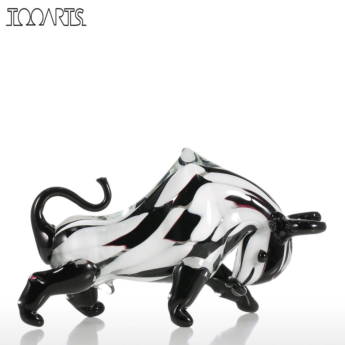 Tooarts Black White Cattle Glass Sculpture Home Decor statue modern Animal Ornament Gift Craft Decoration Bull